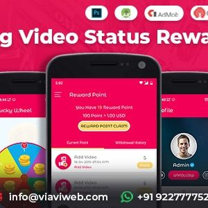 Android Video Status App With Reward Points (Lucky Wheel, WA Status Saver)